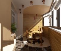 Деревянные элементы в интерьере балкона